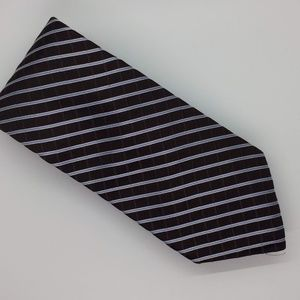 Tommy Hilfiger Chocolate Brown and Blue Stripe Tie